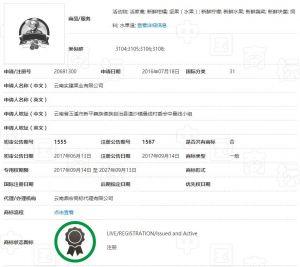 """图1.2 """"云冠""""""""褚橙""""商标注册证书"""